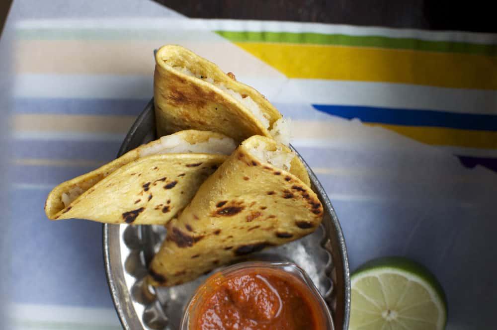 Potato Tacos with Guajillo-Orange Salsa {Dairy Free}