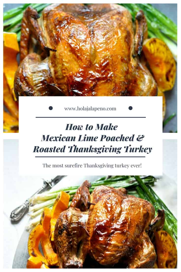 Poached in a lime and cilantro broth and then roasted to crispy perfection. #turkey #thanksgivingturkey #easyturkeyrecipe #easythanksgivingturkeyrecipe