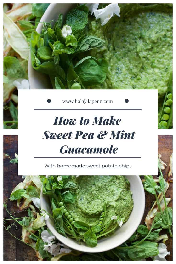 Mint and pea guacamole may seem odd at first but the two flavors are naturals with ripe avocado. Try it for Cinco de Mayo when fresh peas are at their peek! #guacamole #healthyguacamole #healthyLatinfood #guacamolerecipe