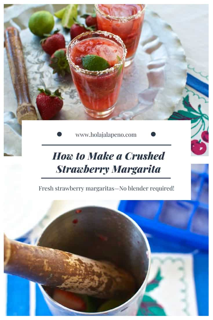 Making a strawberry margarita has never been so easy! Muddling fresh strawberries and limes brings out their sweet flavor then add tequila and your done–NO blender required! #strawberrymargarita #margaritarecipe #easymargarita #strawberry #margarita