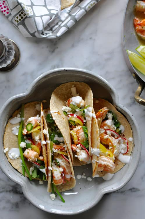 weeknight lime black pepper shrimp tacos