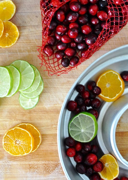 Orange slices, lime slices, and fresh cranberries around a metal mold used to make an ice ring.