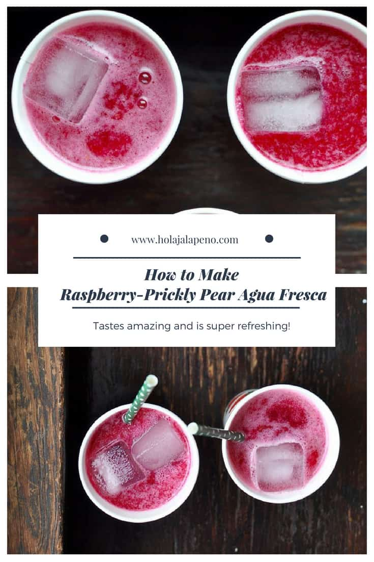 If you make this raspberry-prickly pear agua fresca just for the color that will be enough but as a bonus it also tastes amazing and is super refreshing! #aguafresca #nonalcoholicdrink #pricklypearrecipe