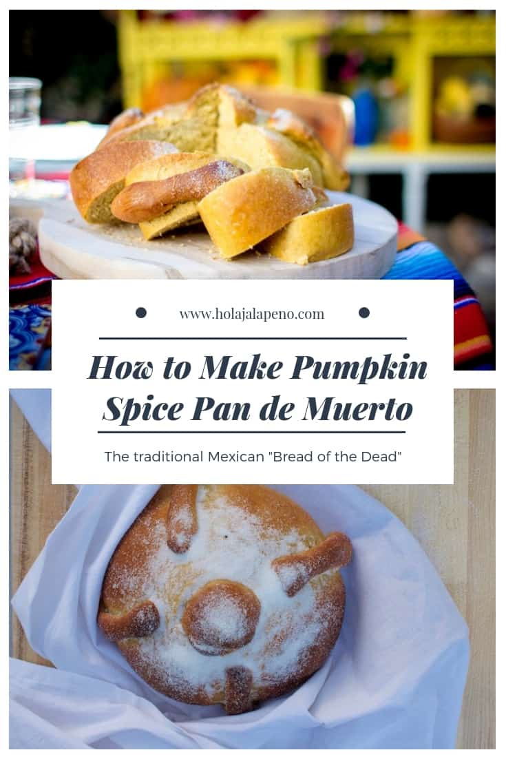 Traditional Day of the Dead bread flavored with all the things we love about fall, sweet pumpkin, cozy spices, and a sprinkling of sugar. #pandemuerto #breadofthedead #dayofthedeadbread #pumpkinspice