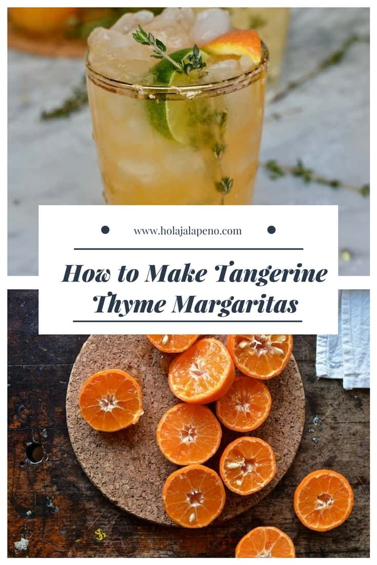 My Tangerine Thyme Margarita takes fresh-squeezed tangerine and lime juices and shakes it all around with herbal thyme syrup and tequila. A wintery margarita to celebrate the season's citrus AND National Margarita Day!