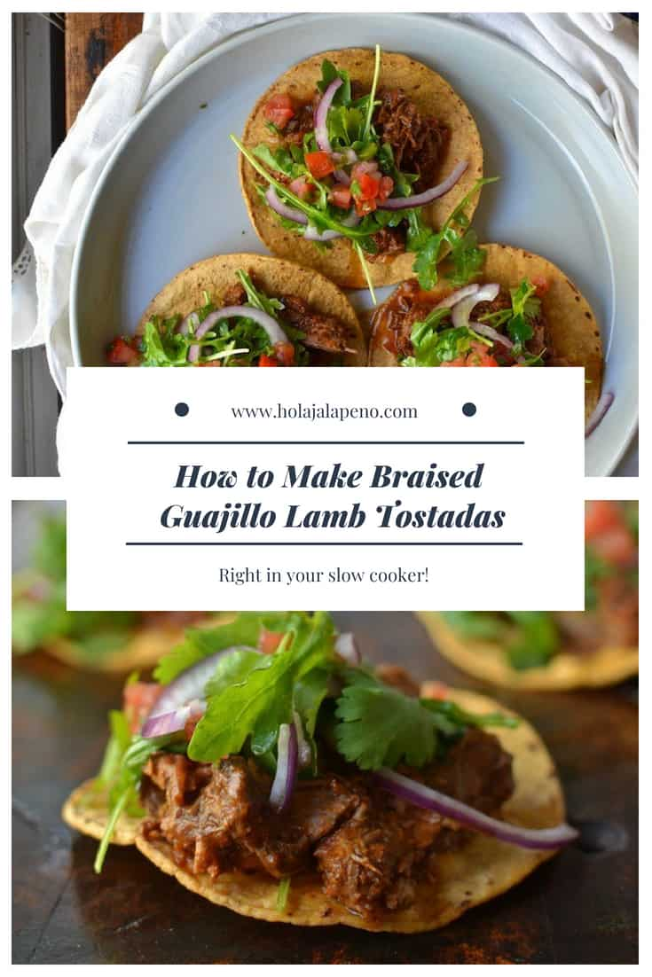 Ultra tender lamb braised in a rich guajillo chile sauce make these lamb tostadas a sophisticated party appetizer or main dish when served with pico de gallo, black beans, and coconut rice. #healthyMexican #lamb #guajillo #tostada #mexicanrecipe