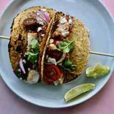 These Chicken Street Tacos fulfills every family's weeknight dinner dreams: easy, healthy, and truly delicious! From A Chef Walks Into a Cafeteria Cookbook. #chicken #chickentacos #healthyMexican #AChefWalksIntoACafeteria