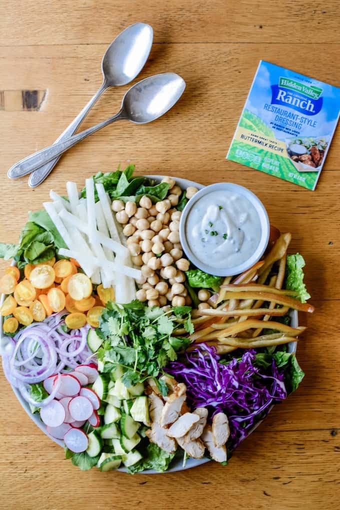 Mexican Chopped Salad Recipe with Restaurant Style Buttermilk Ranch Dressing. A quick veggie-packed meal to satisfy all your crunchy cravings. #ad #HVRlove #holajalapeno #choppedsalad