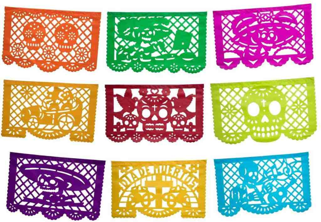 Papel Picado: tissue paper cut into various designs used for decoration.