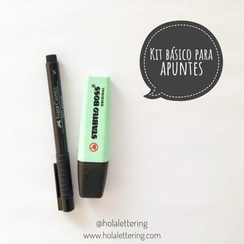 kit básico para apuntes bonitos en lettering