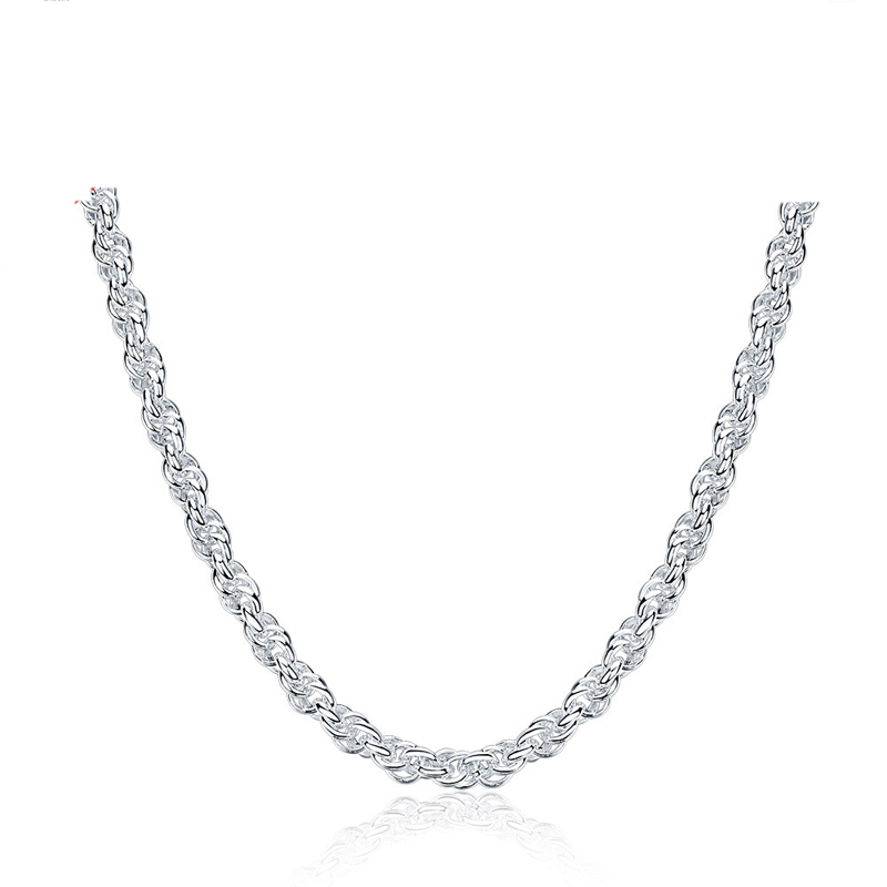 Silver Fashion Jewelry Necklace 17 Inches Chain Three