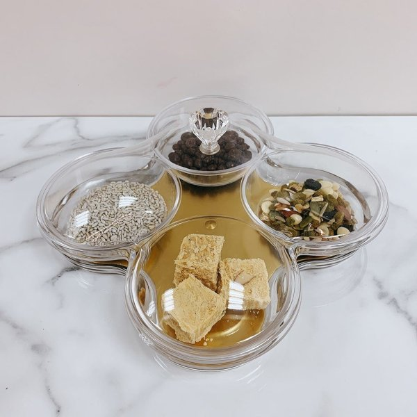 4 Compartments Gold Serving Tray with Cover - 2
