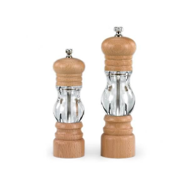 HHA wooden salt grinder with visible window