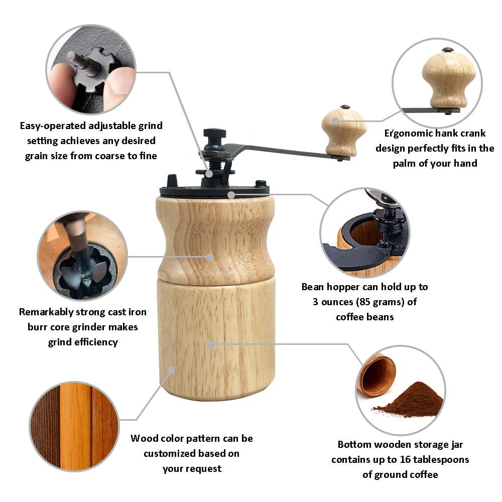Holar CM-A18B A19B manual portable coffee grinder with handle-info