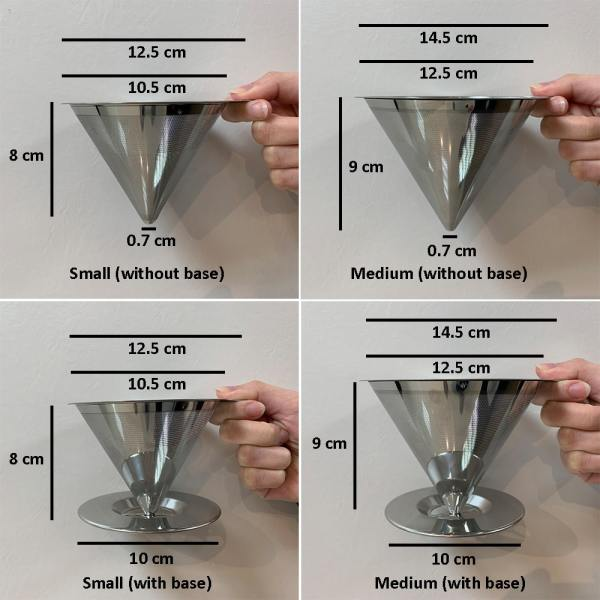 Holar - Coffee - Coffee Filter - PS-DC02-B Reusable Stainless Steel Single Coffee Dripper with Base - 2