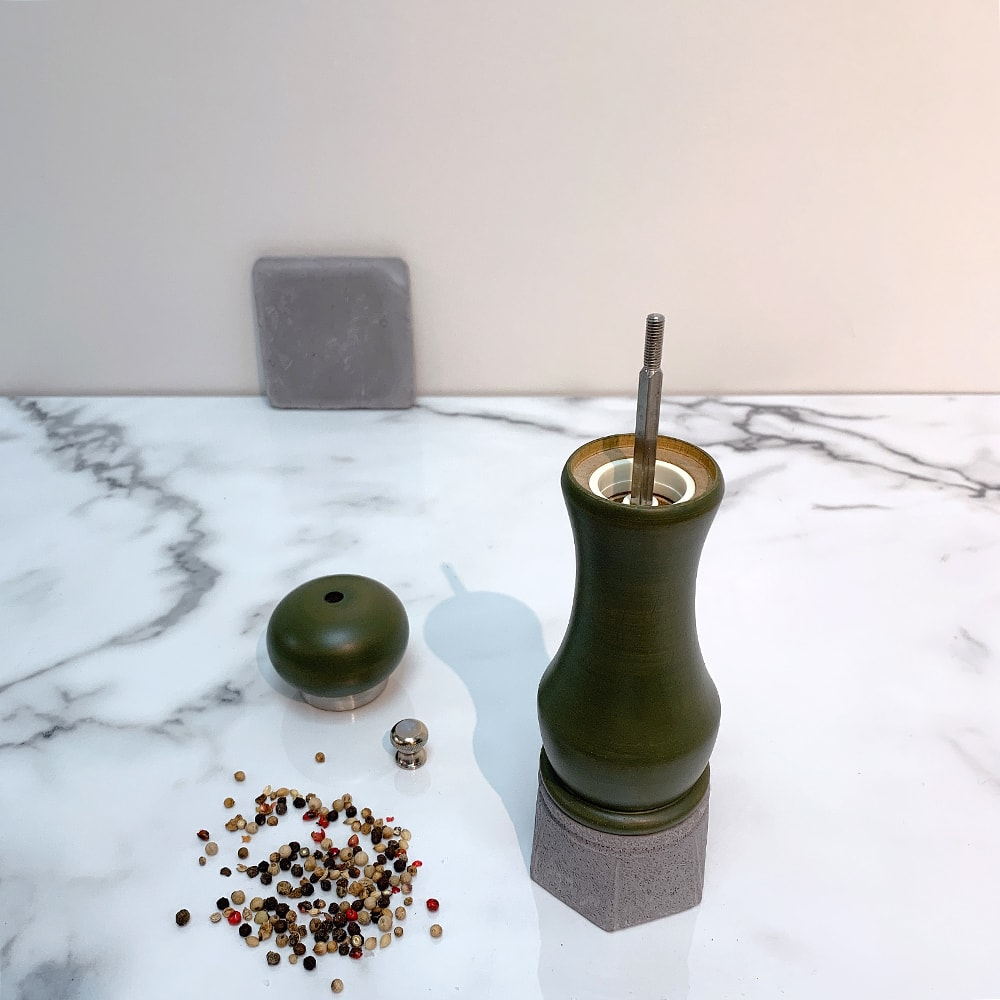 Holar - Salt And Pepper Mill Grinder - Wood Mill - Wood And Concrete Series - CEC-08 Pepper Mill - 5