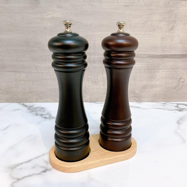 Holar - Salt and Pepper Tray Holder Stand - Light Brown Wood - 5