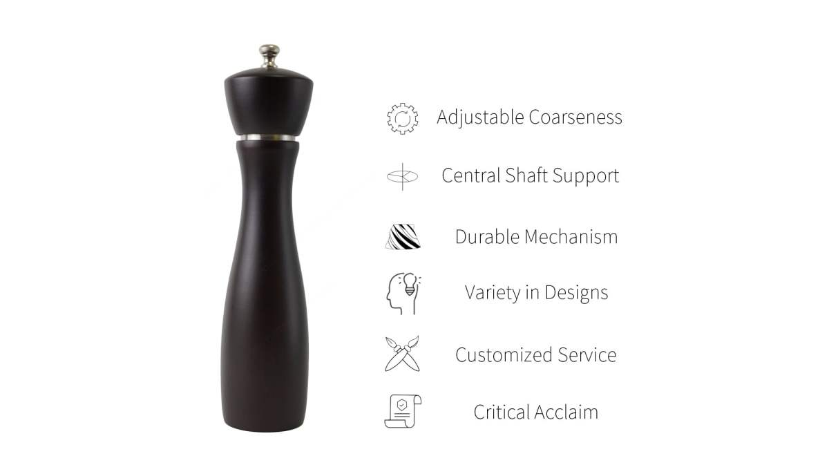 Holar salt pepper mill with stainless steel ring feature_BAS