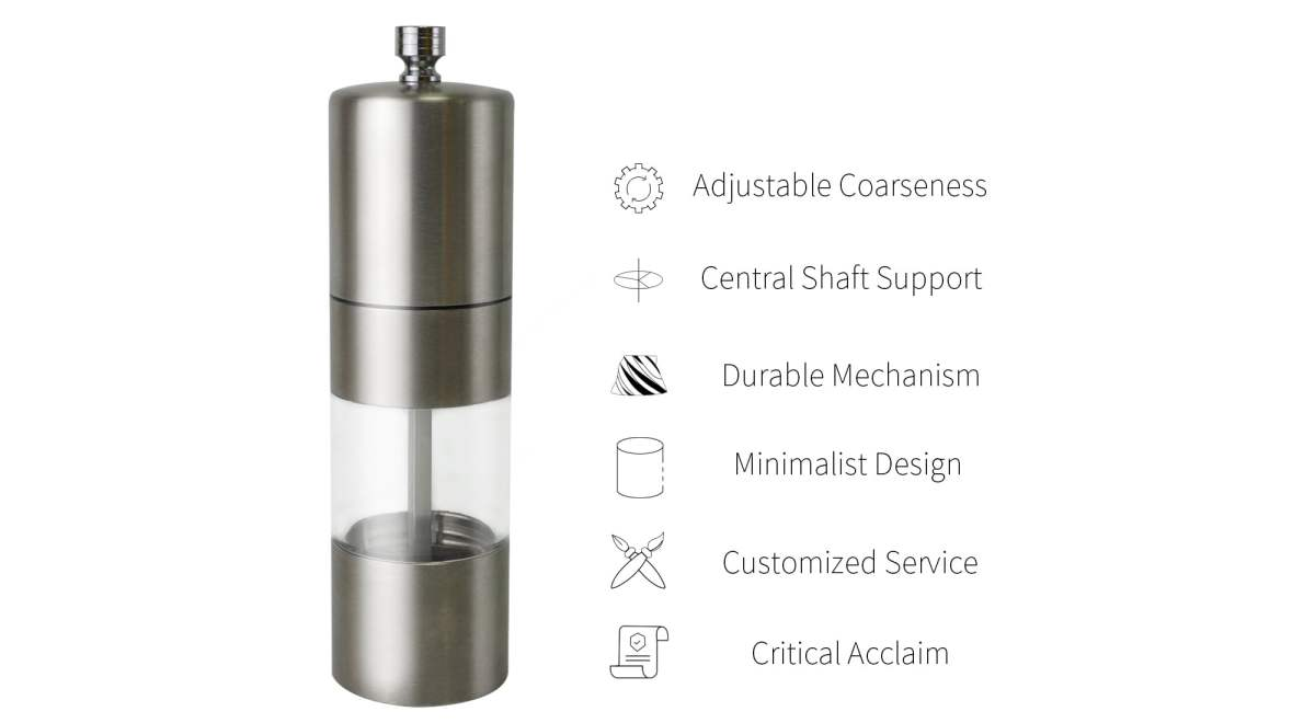 Holar stainless steel salt and pepper grinder with visible window-SSA
