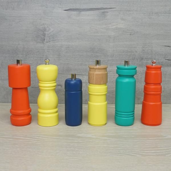 Various shaped of sleeker series wood salt and pepper grinder