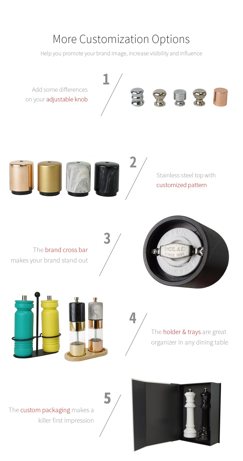 brand logo color customized for Holar stainless steel salt and pepper grinder