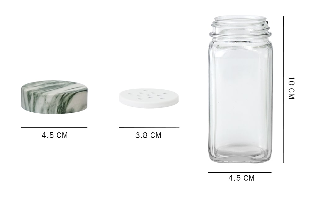 dimension_Holar glass spice jar with marble green lid