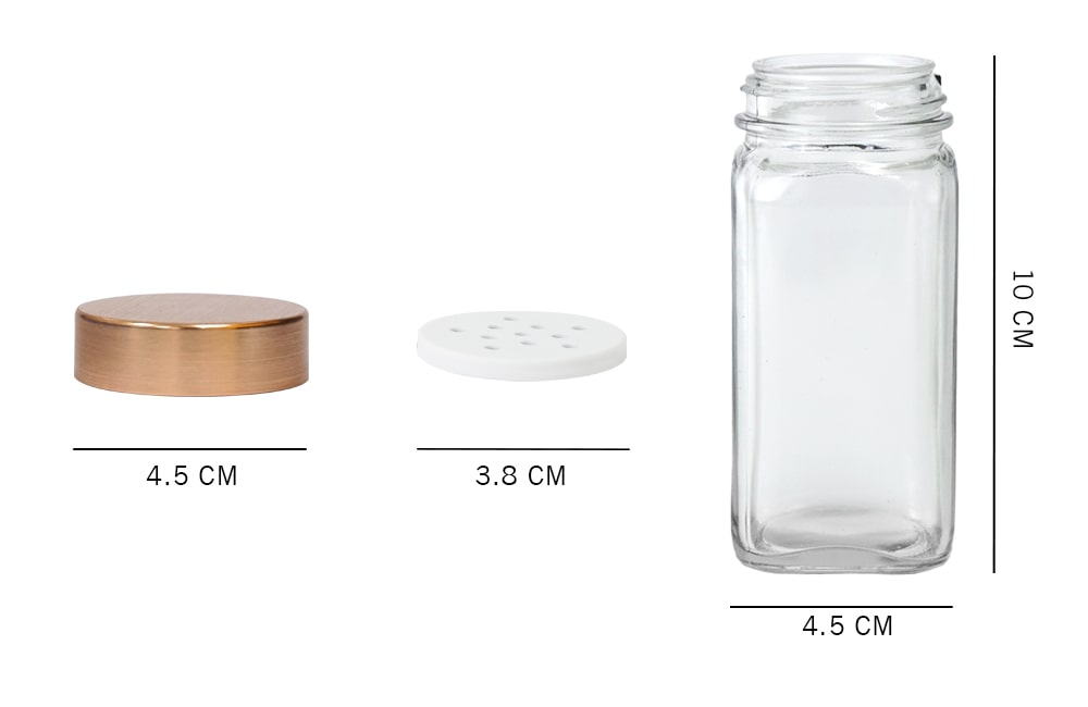 dimension_Holar glass spice jar with rose gold lid