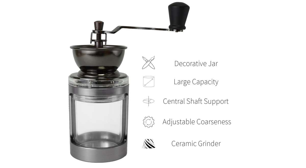 feature of Holar silver coffee grinder with clear jar-CM-DY03-D