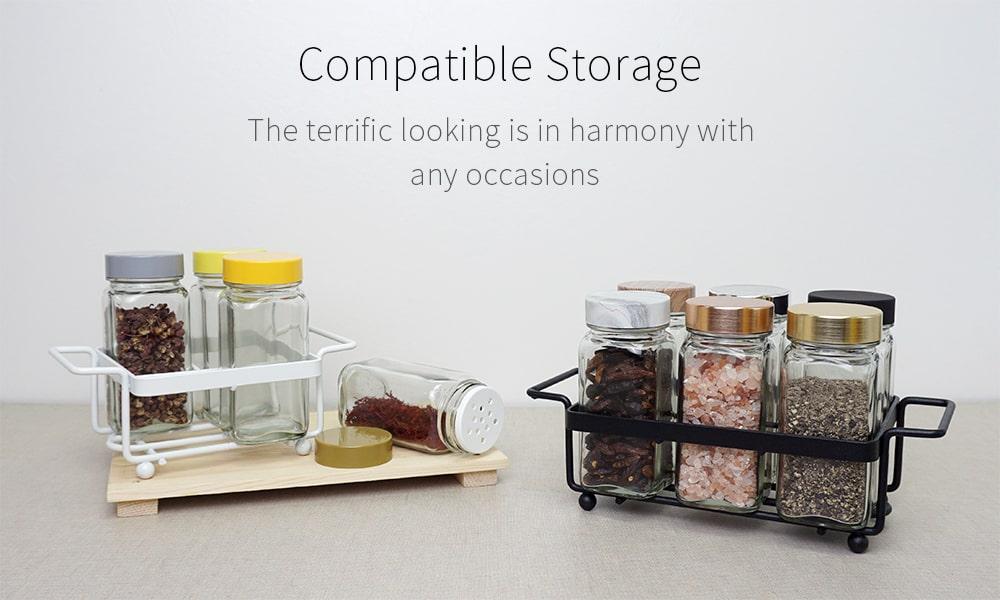 glass spice jar set with tray holder