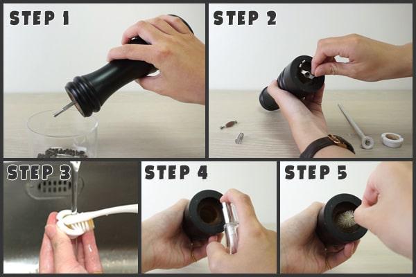 regular clean methods for salt and pepper grinders