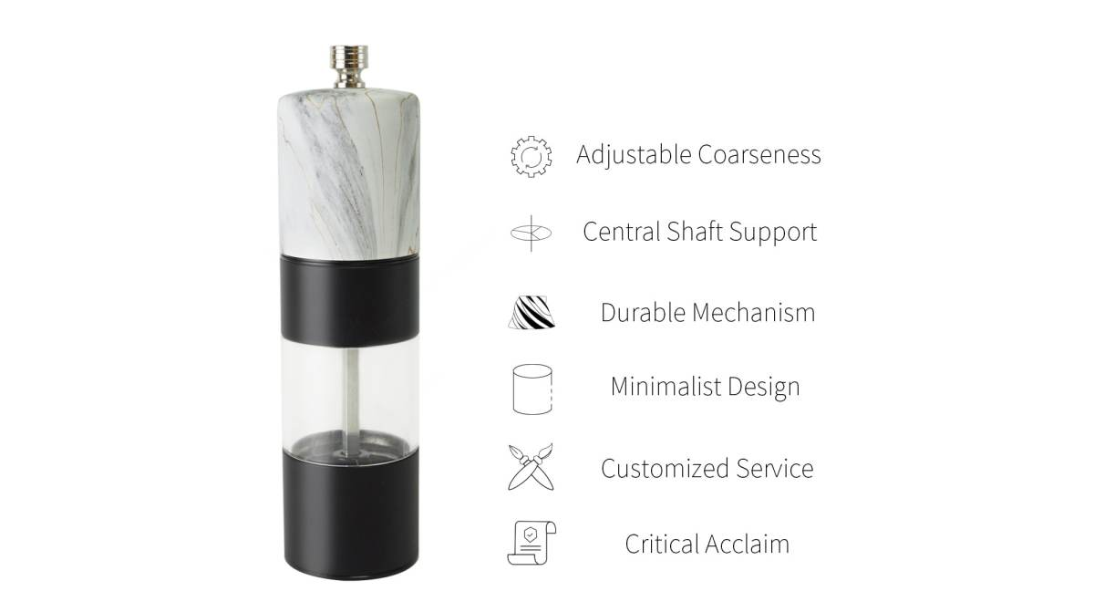 unique features of marble salt pepper mill-SSAMP-WT
