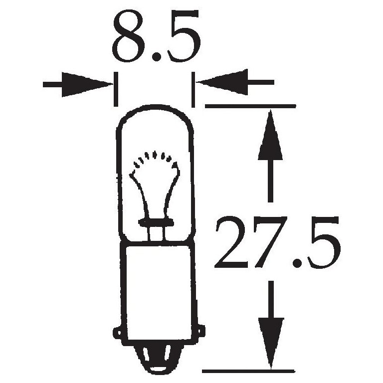12v 4w Single Contact Bulb BA9s Cap for vintage and