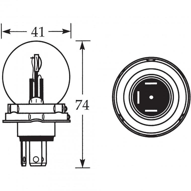 12v Bulb for UEC Headlamps Vertical Dip 45/40w LLB410 for