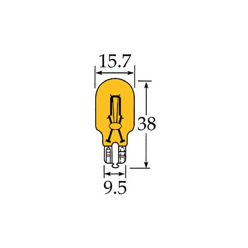 Capless Bulb 12v 21 watts Amber for vintage and classic cars