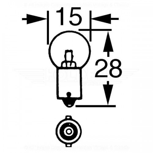 12v 5w Single Contact Bulb BA9s Cap LLB989 for vintage and