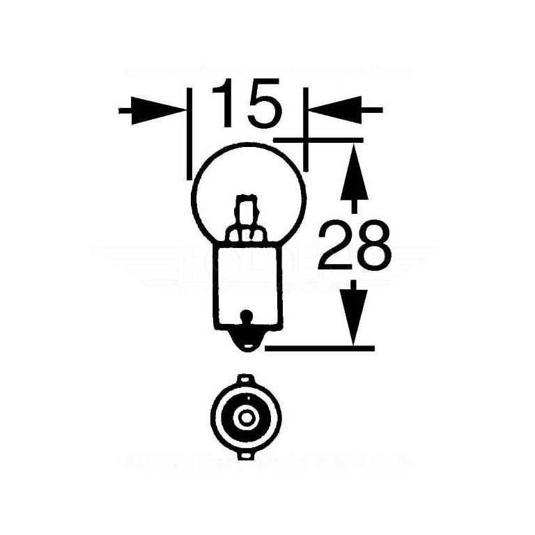 12v 5w Single Contact Bulb BA9s Cap LLB989