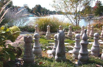 Chess board sculpture and landscape