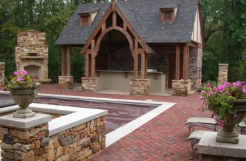 POOL HOUSE WITH BRICK PAVING and FLAGSTONE WALLS