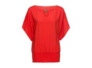 Bluse mit Spitze Flügelärmel in rot für Damen von bonprix