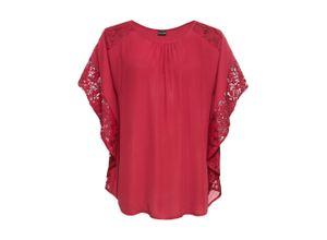 Bluse mit Spitzendetails halber Arm in rot für Damen von bonprix
