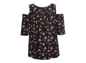 Cold-Shoulder-Bluse halber Arm in schwarz für Damen von bonprix