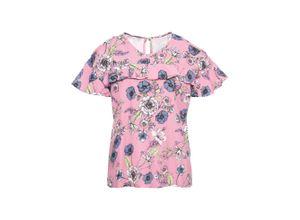 Cold-Shoulder-Bluse mit Volants kurzer Arm in rosa für Damen von bonprix