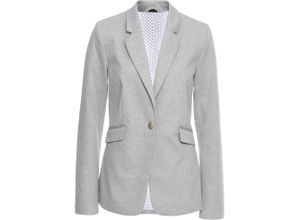 Jersey-Blazer mit gepunktetem Futter langarm in grau für Damen von bonprix