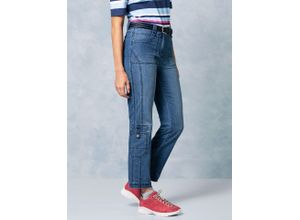 Klepper Damen Jeans-Hose Coolmax Regular Fit Blau einfarbig atmungsaktiv elastisch mit flexiblem Bund temperaturausgleichend