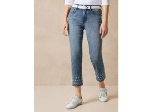 NYDJ Damen Jeans-Hose Slim Fit Blau einfarbig