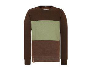 Naketano Sweatshirt 'Ich trage Mantel' braunmeliert / pastellgrün