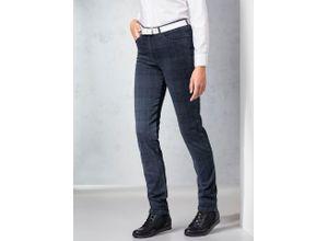 Raphaela by Brax Damen Jeans-Hose Slim Fit Blau kariert elastisch mit flexiblem Bund