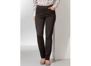 Raphaela by Brax Damen Jeans-Hose Slim Fit Braun einfarbig elastisch mit flexiblem Bund