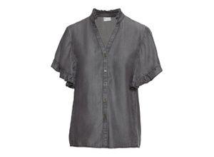 Tencel-Bluse mit Rüschen kurzer Arm in grau für Damen von bonprix