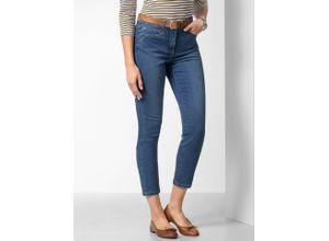 Walbusch Damen 7/8 Coolmax Jeans noch offen: Filter Passform einfarbig Blue Stoned
